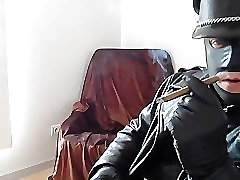 leather biker masked glove smoke cigare relax