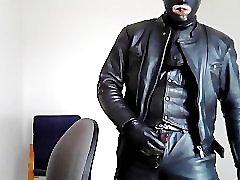 biker leather mask rubber smoke cigar