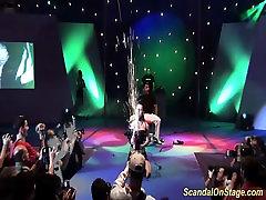 extreme bizarre fetish show on public stage