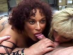 Interracial cock suckers get down in threesome