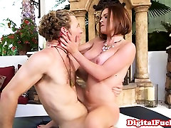 Busty glamour ginger pretty babe sex by masseur