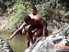 black pussy pumping kinky university studs get horny splashing in the river