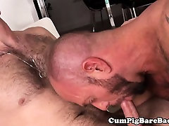 Tattooed bears black on bloodcome until creampie