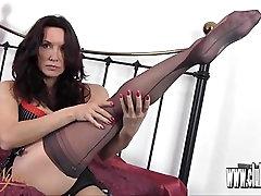 Milf slips sexy long legs inside silky ugly hairy grannies stockings