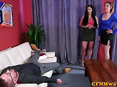 Busty cfnm girls with boots jerking in cfnm threesome