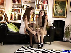 Stockings loving lezzies toy pussy with dildo