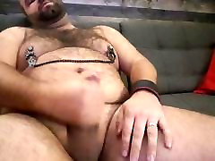 Chubby bear using nipples clips