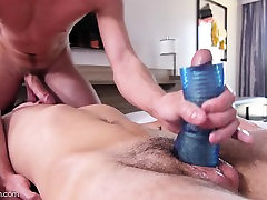 Older step brother massages and plays with cute little