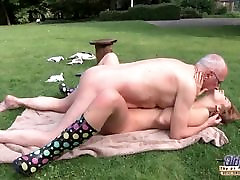 Young Old 8 japanese av idols Beautiful tagsperfect bouncy boobs Giving Blowjob and fucked by grandpa outside