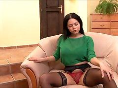 GGG Cup Natural Tits, Hot Stockings with pink Satin Panties