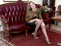 Brunette bursting to cum in vintage corset and nylons wank