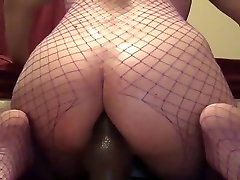 Chubby Slut Bounces Big Ass On Dildo Wearing Fishnets