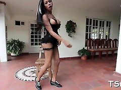 Naughty transsexual touches herself