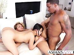 Interracial threesome with fat black bitch in socks slut