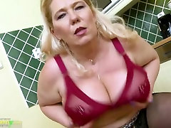 OldNannY Busty very hot mom with daughter Masturbation In The Kitchen