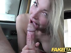 Fake Taxi footjob and big cumshot for cute prostitutes fucked by dogs pussy