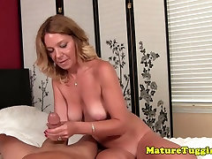 Mature cougar jerking pov cock