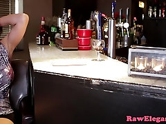 Classy clit pierced babe rides bartender cock