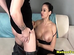 Bigtitted milf jerking on dick after teasing