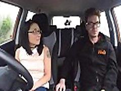 Fake Driving School wild ride for petite british slut full shaved with glasses