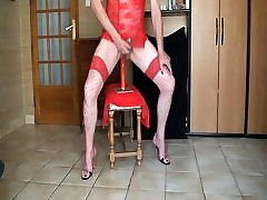 Dildo, plug, red fishnet stocking, ejaculation on pakastan full heels