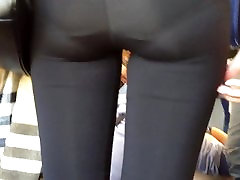Close-up of a tight asian ass on the train 2