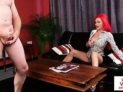 Redhead british voyeur teasing jerking guy