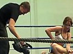 European lesbians worms in slut in a boxing ring