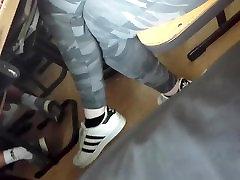 Cute Teen dangling her feet in sony laone sneaker Socks