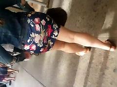 꽉 블루 플라워 디자인 드레스의 큰 부티 Latina