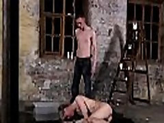 Male gay bondage slave twink young dirty Chained to the warehouse
