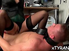 Female-dominator sucks and rides slave