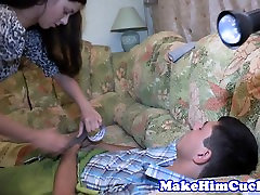 Doggystyled euro cuckolds restrained bf