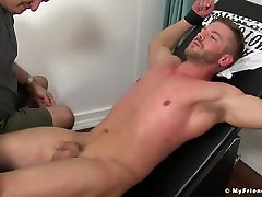 Hot fit Sean Holmes tied up good and tickled by his friend