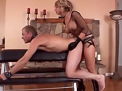 Blonde Mistress Strap on Fuck Her pumping pussy at pool Hard
