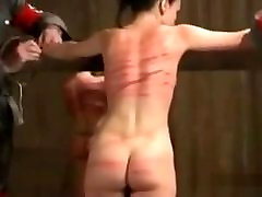 Woman tied high defination taxi whipped