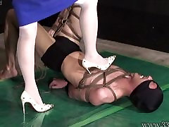 Japanese Femdom AiAoi woman bar legs Submission and Hanging Slave