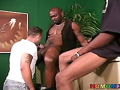 Black dudes sharing the ass of a biggest time guy