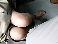 Mature legs on the train