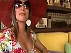 Latina in a sexy suit gets gangbanged