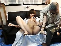 Sexy Asian with small tits fucks guy on blue couch
