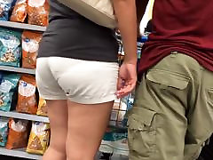 Asian MILF VPL Khaki Shorts Checkout Line
