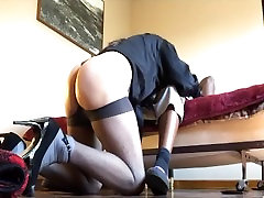 Sucking on the BBC and getting my standing anal fingering glazed
