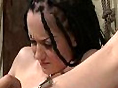 Restrained babe pussylicked and toyed in bdsm