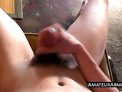 Naughty bum driller plays with his hairy fuck stick solo