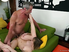Old dude fucks pretty hot young chick Lucette Nice