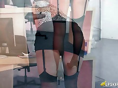 Naughty secretary Layla shows upskirt in the office