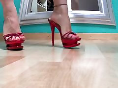 Walk in red sexy high heel mules