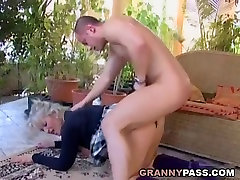 Busty Blonde Granny Discovers Young Cock