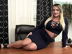 Nika in stockings plays with her pussy